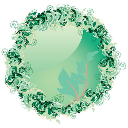 Spring Button with leaves, vector illustration. Click to bring spring to you.