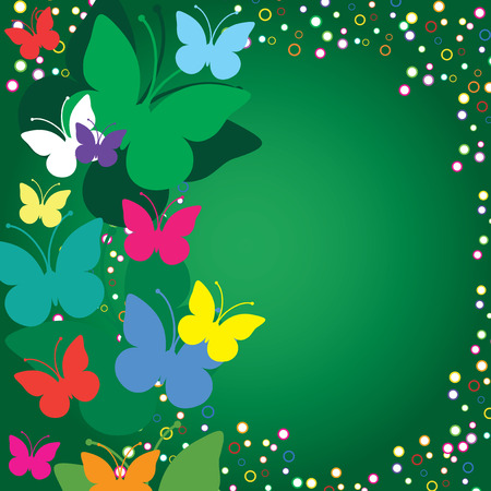 birth day: Green  background with butterflies