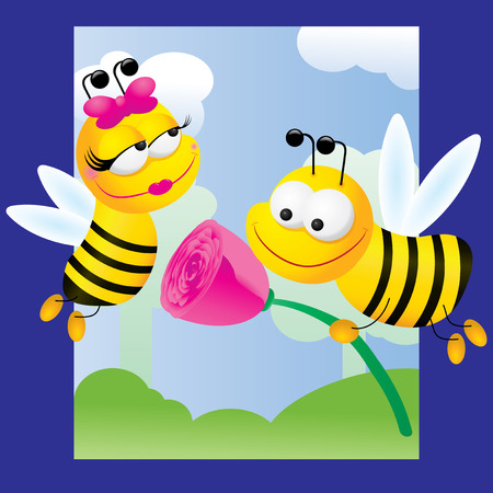 abejas: Ilustraci�n de la vida de un han Vectores