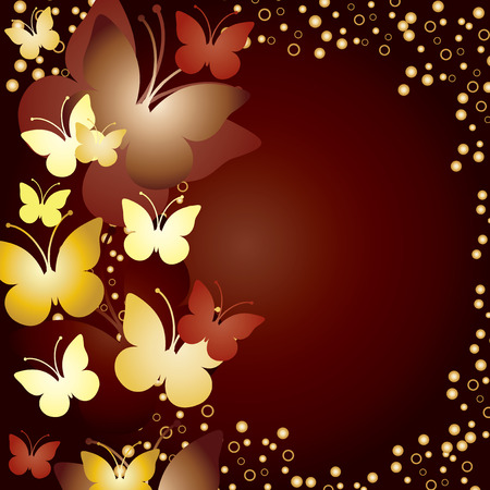 hollidays: Gold background with butterflies Illustration