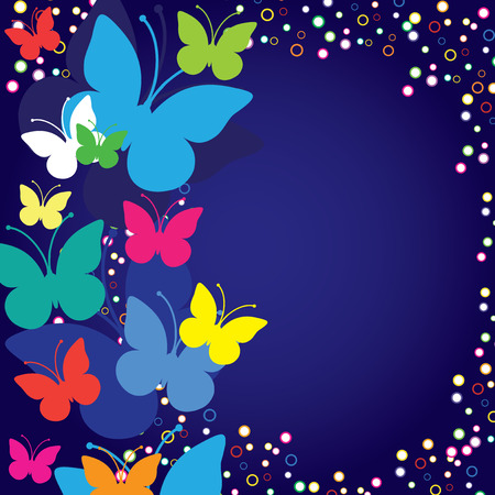 hollidays: Blue background with butterflies, vector illustration