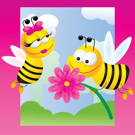 Bees relations, vector illustration on pink background