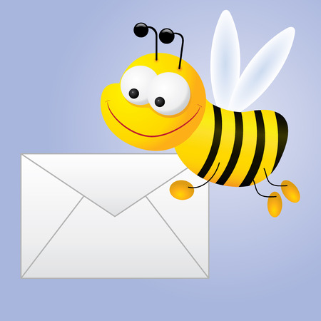 Envelope for e-mail with bee, vector illustration Vectores