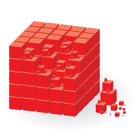 determinant: Red construction set of cubes, vector illustration