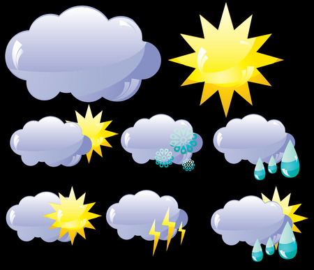 Set of glass Weather icons, vector illustration Vector