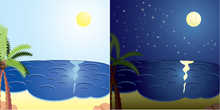 intocado: Vacation cards, day and night sea, illustration Ilustra��o