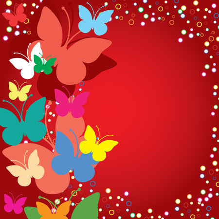 birth day: Red background with butterflies, illustration