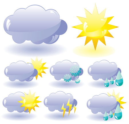 Set of glass Weather icons, illustration Stock Vector - 6481684