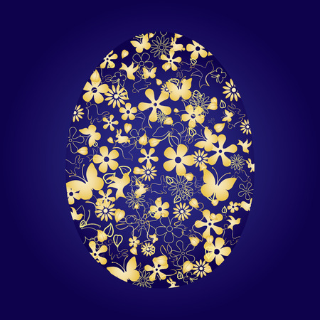 pasch: Decorative easter egg on blue background, illustration Illustration