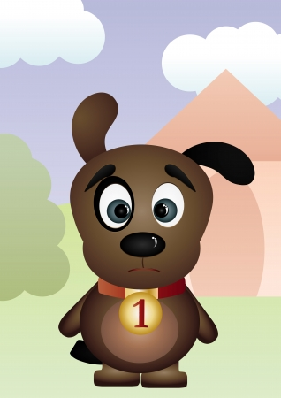 Sad puppy - miss you card, vector illustration Vector