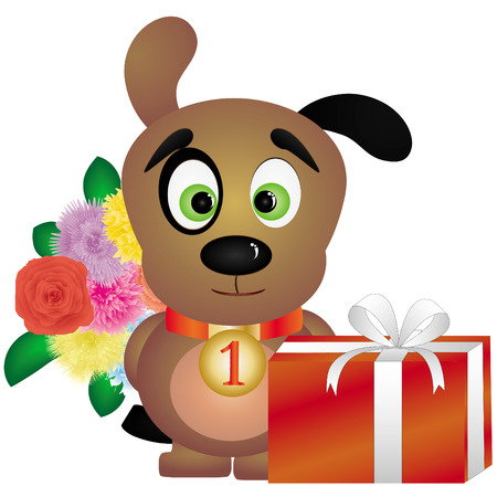 devanear: Happy black-eyed puppy with flowers and gift box, illustration