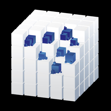 crucial: Abstract cubes isolated on the black background with blue parts, illustration