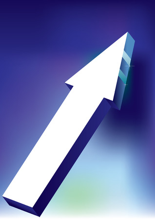 onward: Vector Onward & Upward Arrow on blue background - 3D Glossy Icon