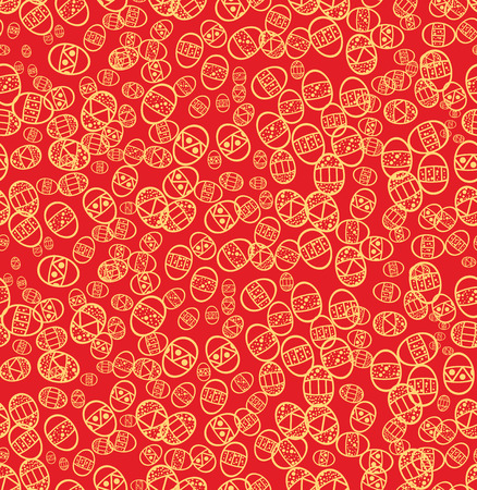 Seamless easter eggs on red background, vector illustration Vector