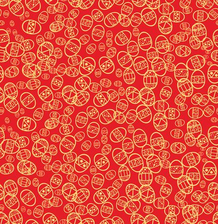 pasqua: Seamless easter eggs on red background, vector illustration