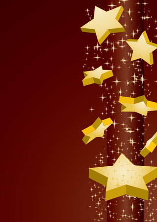 Shooting golden stars on brown background, vector illustration Vector