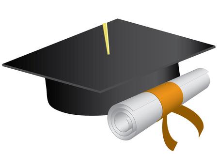 mortero: Tapa de graduaci�n y diploma sobre un fondo blanco., ilustraci�n vectorial Vectores