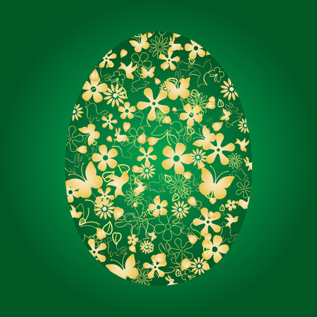pasch: Decorative easter egg on green background, vector illustration