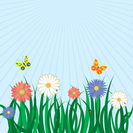 Spring floral background with grass, flowers, butterflies and the sky. Vector illustration Stock Vector - 6499233