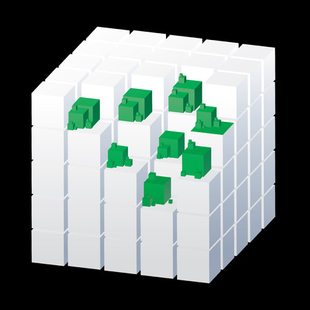 determinant: Abstract cubes isolated on the black background with green parts, vector illustration