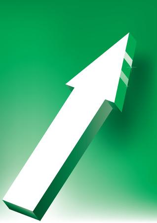 onward: Adelante & amp, Upward flecha sobre fondo verde - 3D Icon brillante  Vectores