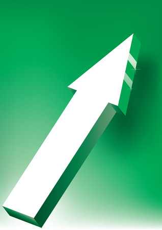 Onward &amp, Upward Arrow on green background - 3D Glossy Icon Stock Vector - 6544713