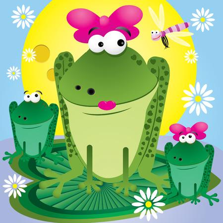 rana caricatura: Familia de diversi�n dibujos animados ranas para tarjeta de saludos, ilustraci�n