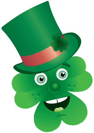 Clover for St. Patrick`s Day with face in tophat, illustration Stock Vector - 6544711