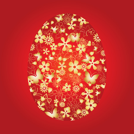 pasch: Decorative easter egg on red background,  illustration