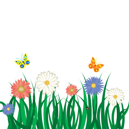 Floral background with grass, flowers and butterflies. illustration Stock Vector - 6544714