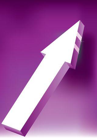 onward: Adelante & amp, Upward flecha sobre fondo p�rpura - 3D Icon brillante