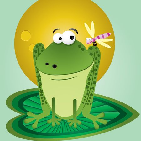 Funny cartoon frog with dragonfly on background for greetings card,  illustration Vector