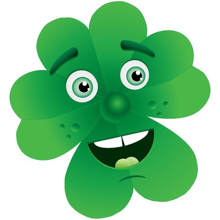 cloverleaves: Clover for St. Patrick`s Day with face, illustration
