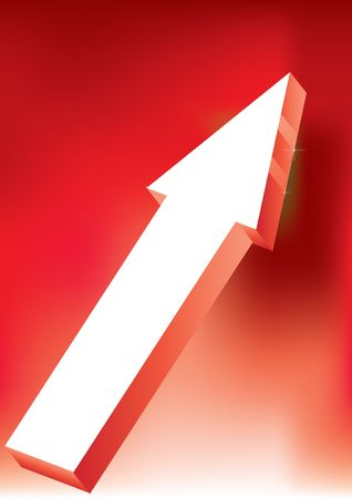 onward: Vector Onward & Upward Arrow on red background - 3D Glossy Icon