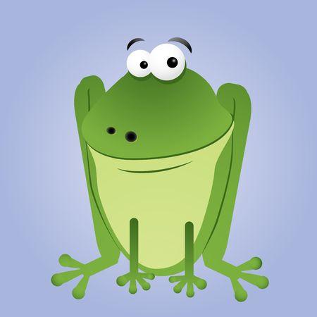 rana: Fun cartoon frog sitting, vector illustration