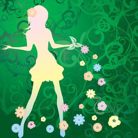 advertizing: Spring girl silhouette on green background, vector illustration