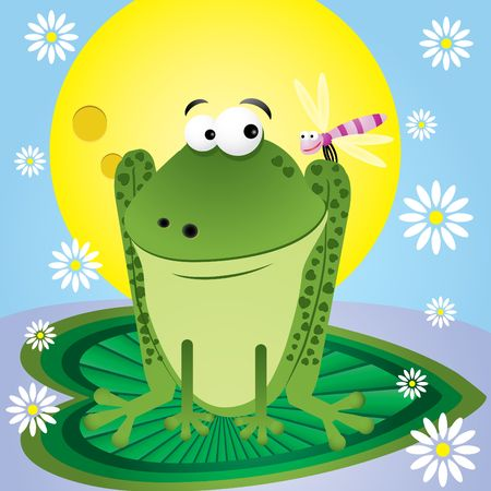 greenpeace: Fun cartoon frog  with dragonfly and camomile for greetings card,  illustration Illustration