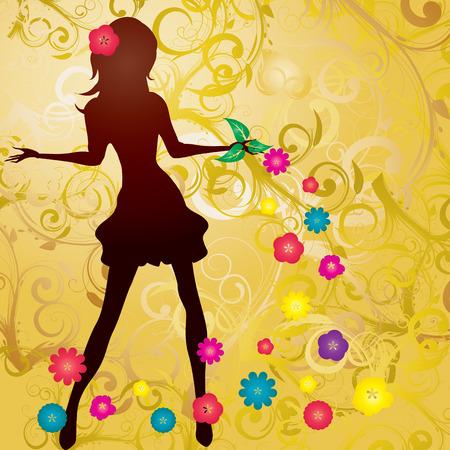 Brown girl silhouette with flowers and curlicue, illustration Vektoros illusztráció