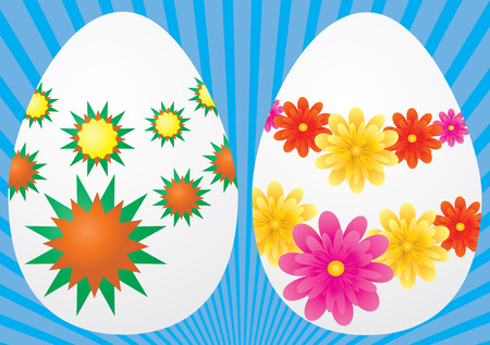 Decorative easter eggs on blue background, vector illustration Vector