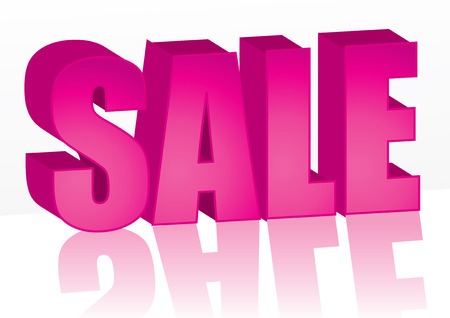 Big pink Sale word, vector illustration Vector