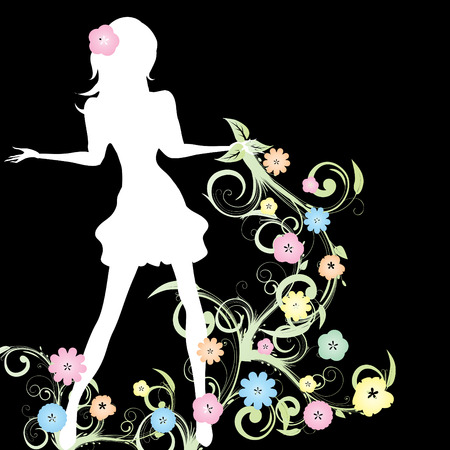 glamour woman elegant: Spring girl with flowers and curlicue on black background, vector illustration