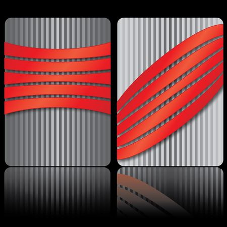 Business card with red strips, vecror illustration Vector