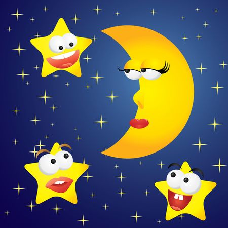 Moon-girl and stars-boys, vector illustration Stock Vector - 6660264