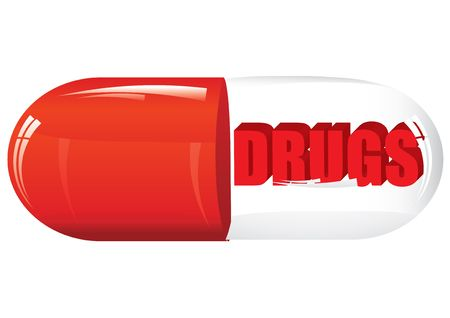Class pill with drugs, vector illustration Vetores