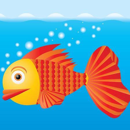 Pesce in acqua, illustrazione vettoriale