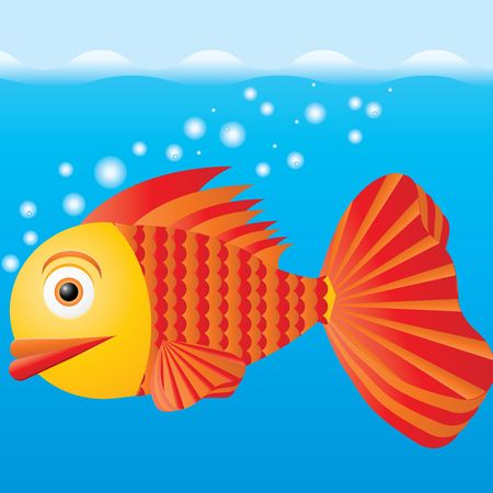 Poisson dans l'eau, illustration vectorielle