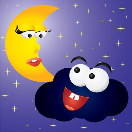 meteorological: Moon-woman and cloud-man in night, vector illustration Illustration