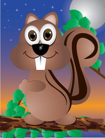 Illustration of squirrel sitting on brunch Vector