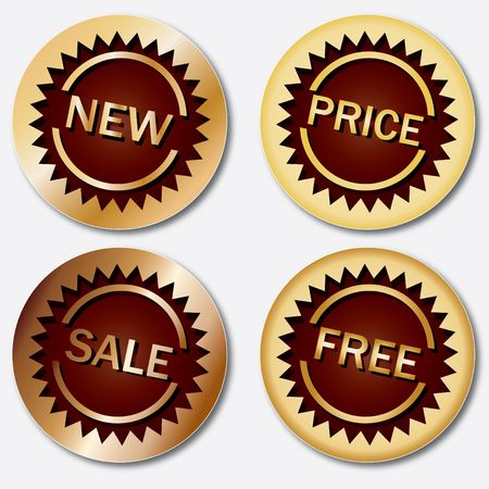 sellout: Gold sale tags Stock Photo
