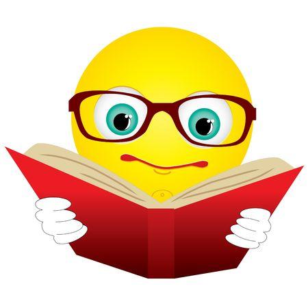 Smiley-ball in glasses read red book Foto de archivo